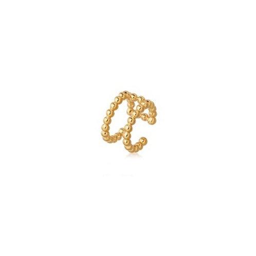 TWIN BEADED Ear Cuff- 9k gold