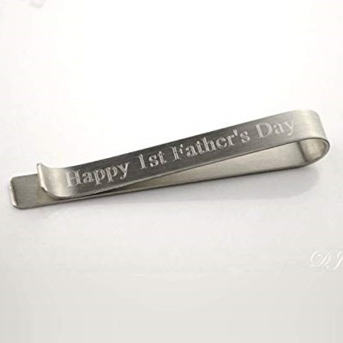 Happy 1st Fathers Day TIE BAR-Sterling silver