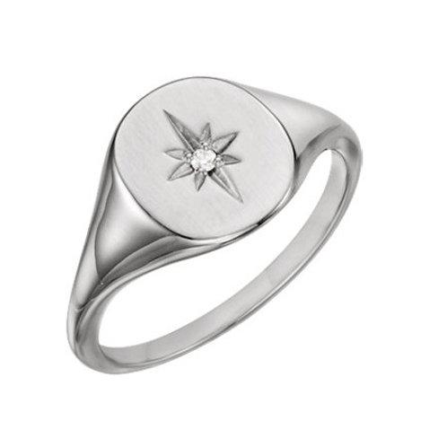 REBECCA signet ring- Sterling silver