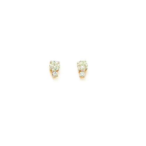 DUO Studs- 9k gold & diamonds