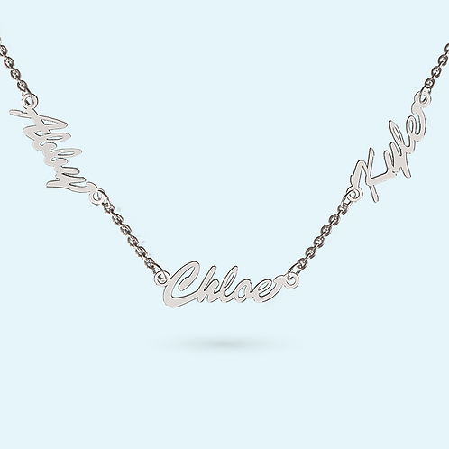 Multi Name Necklace- 925 Sterling silver