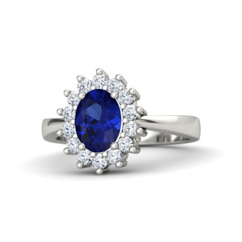 DIANNA 18k Gold Blue Sapphire and Diamond Ring