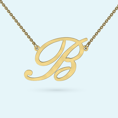 Initial Pendant Necklace- 9k Gold