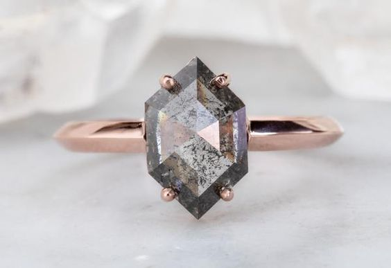 Salt + Pepper Hexagon Diamond Engagement