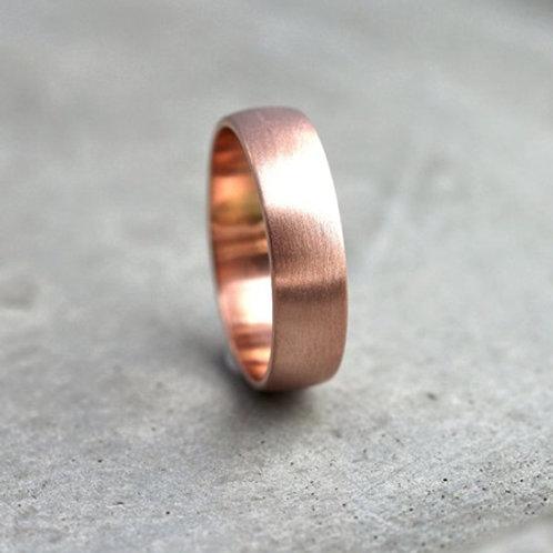 6mm D-shape 9k gold wedding band