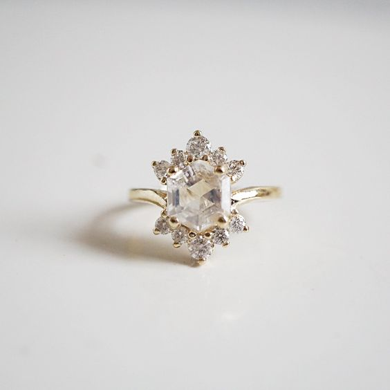 Moonstone Rosie Diamond Ring by Tippy Ta