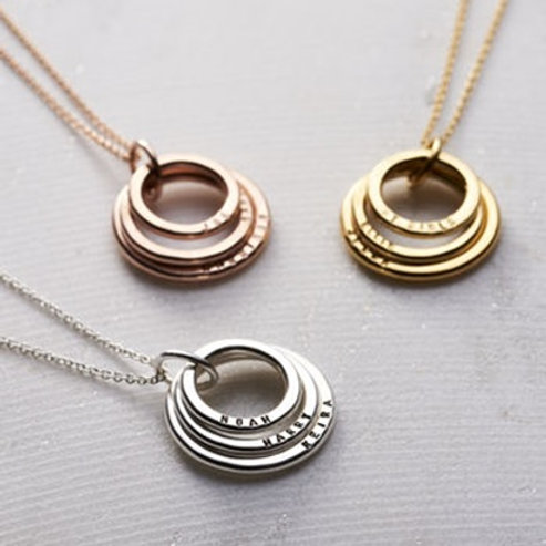 Stacking CIRCLES necklace- 9k gold
