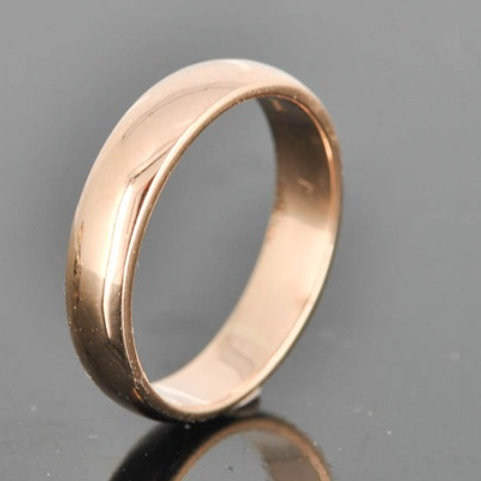 D-shape 9k gold wedding band- 4mm