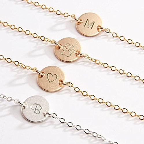 Initial DISK bracelet- 9k gold