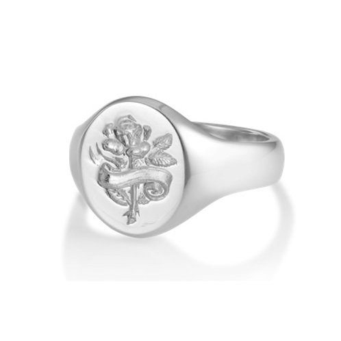 ROSE signet ring- Sterling silver