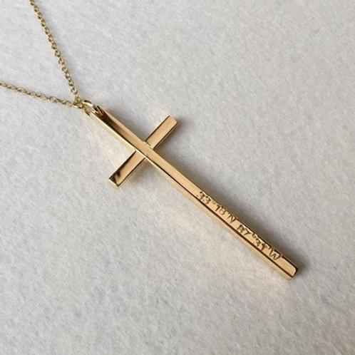 Slim CROSS necklace- 9k gold