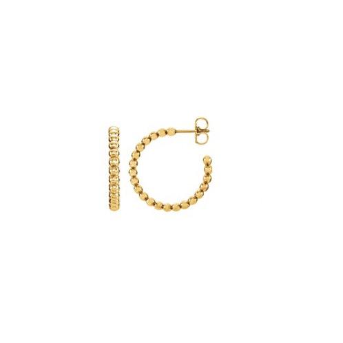 BEADED Hoop- 9k gold