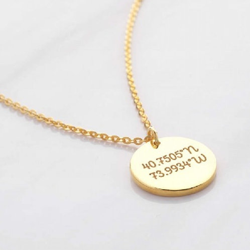 LONGITUDE LATITUDE necklace- 9k gold