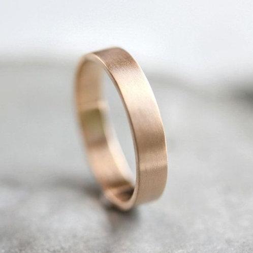 4mm D-shape 9k gold wedding band