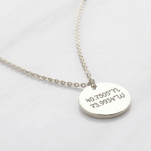 LONGITUDE LATITUDE necklace- Sterling silver