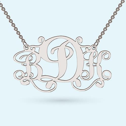 Monogram Pendant Necklace- 925 Sterling silver