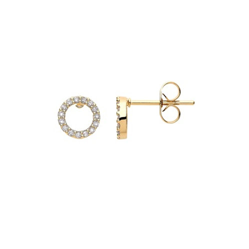 PAVE Circle Studs- 9k gold & diamonds