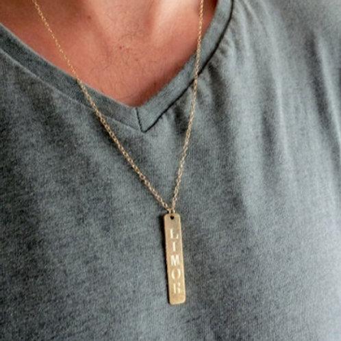 Slim TAG necklace- 9k gold