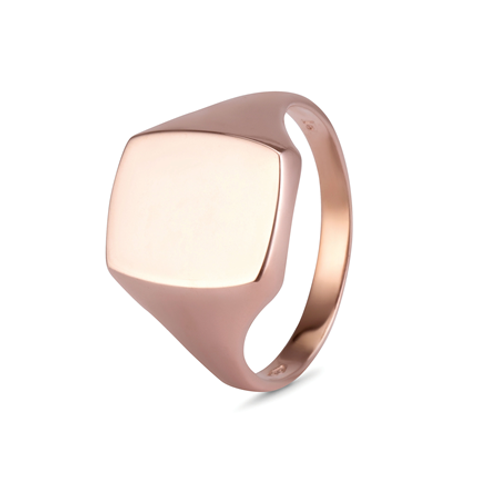 Gents Cushion signet ring-9k gold
