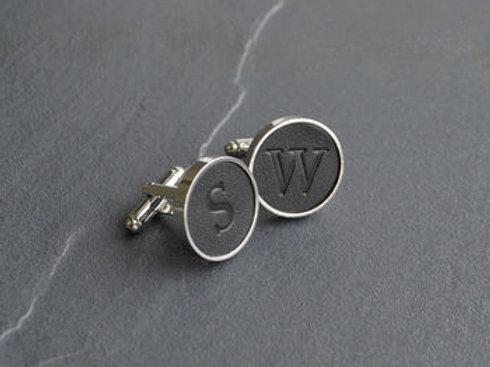 LEATHER cufflink- Sterling silver