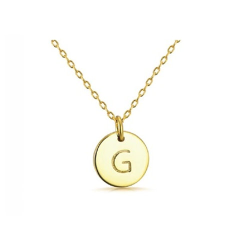 INITIAL DISK NECKLACE- 9k gold