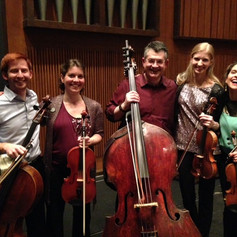 With Analise Kukelhan and Jackie Wolborsky (violins), Petra Berenyi (viola) and Nathaniel Yaffe (cello) after Performance of Dvorak's Quintet.