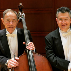 With my Leningrad Conservatory's bass teacher Serge Akopov, an amazing teacher and perfomer.  We, at NCS, were very lucky to have him playing with us for a few weeks in NC.