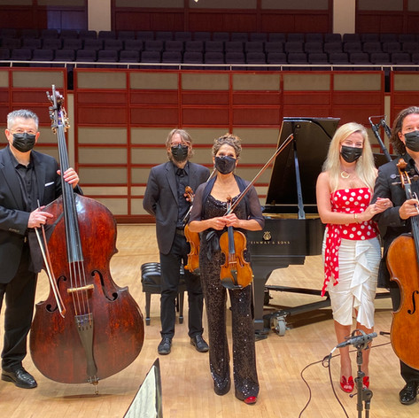 """After Shubert's """"Trout"""" Quintet, with Jackie Wolborsky, violin; Sam Gold, viola; Zuill Bailey, cello, and Natasha Paremski, piano."""