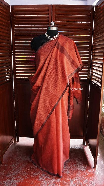 Brown Cotton Silk Saree