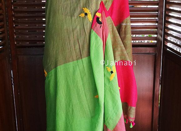 Cotton Embroidery Saree