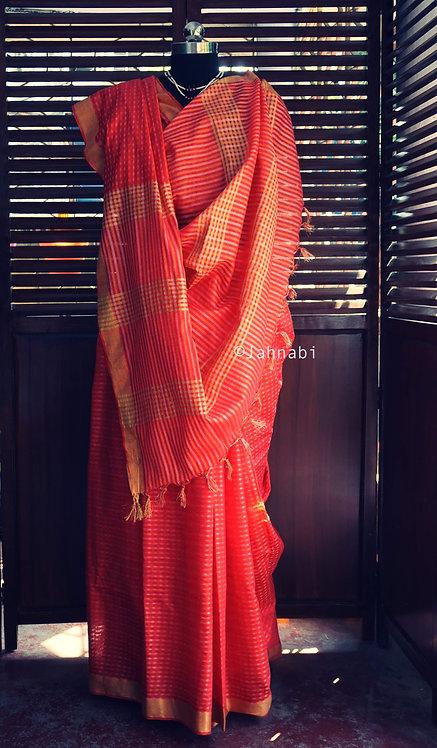 Orange Jacquard Saree
