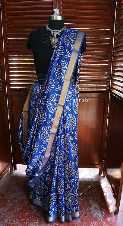 Royal Blue Gajji Silk Saree