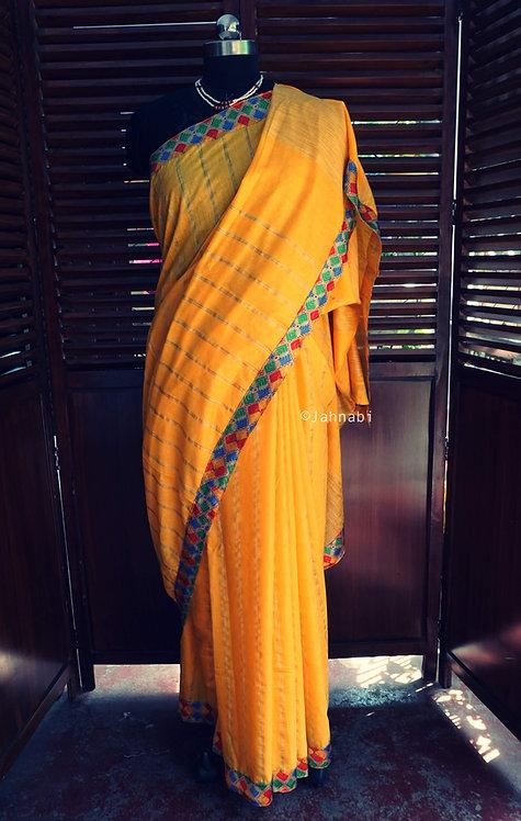 Yellow Geecha Silk Saree
