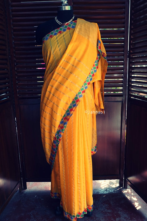 Yellow Geecha Silk Saree