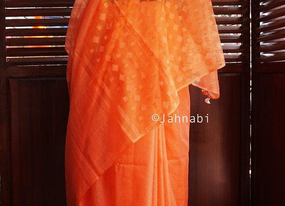 Orange Kota Silk Saree