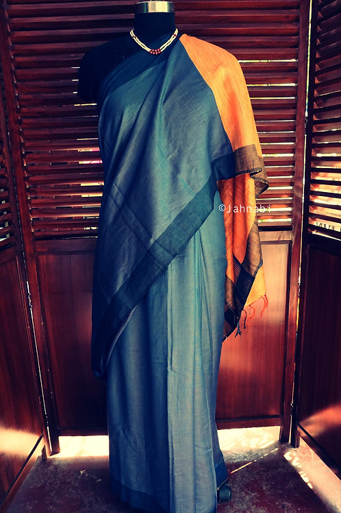Grey Khadi Tussar Saree