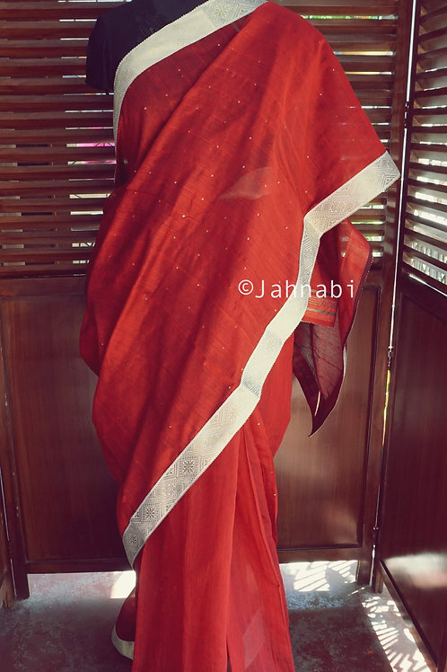 Red Khadi Silk Saree
