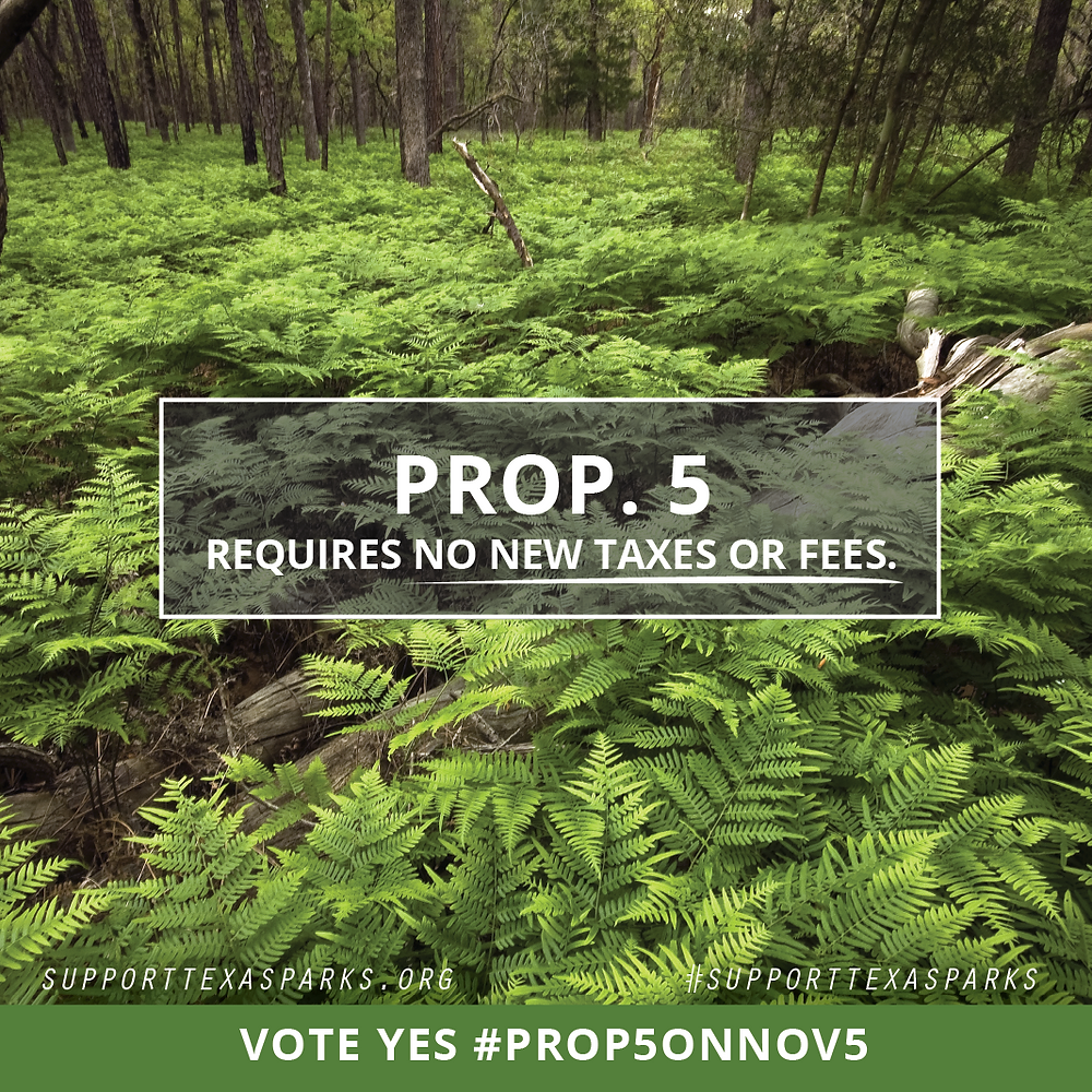 You heard right. Prop. 5 Requires no new taxes or fees. #SupportTexasParks #Prop5onNov5
