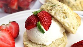 Basil Buttermilk Scones with Strawberries