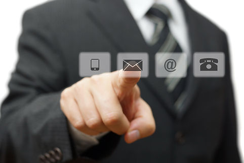 Businessman pressing virtual ( mail,phon