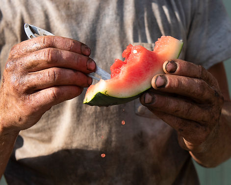 andrew eating watermelon, august 2020 te