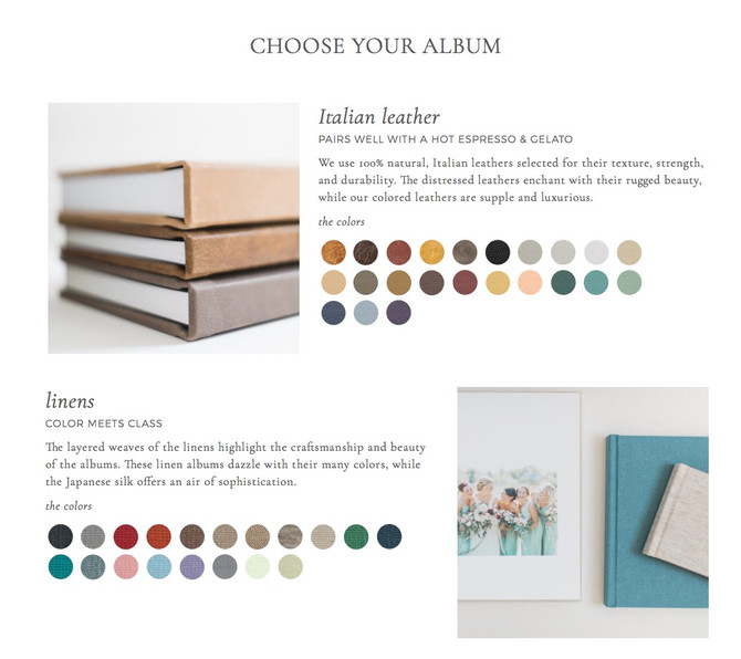 Fine Art Linen and Leather Albums