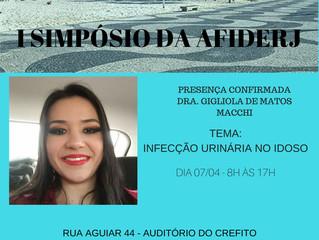 I SIMPÓSIO DA AFIDERJ Rua Aguiar, 44 - Tijuca, auditório do Crefito.  Dia 07/04 das 8h - 17h. Inscri