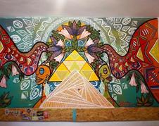 Vibe spreaders (Mural in Supertramp Hostal, Cusco Peru) (2018)