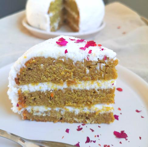 Layer cake gâteau mangue crème coco vegan sans gluten