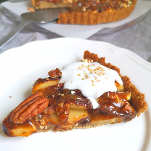Tarte aux pommes noix de pécan caramel sans gluten vegan