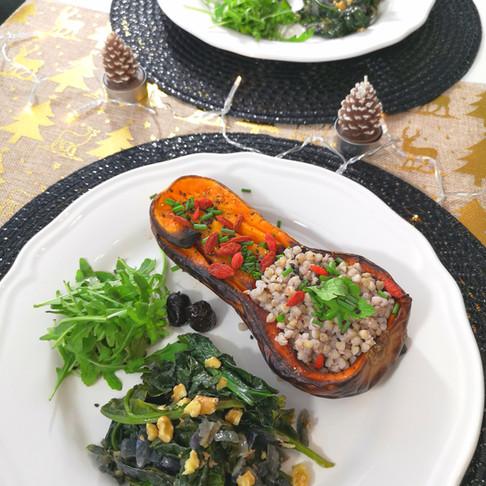 Courge butternut au sarrasin épinards roquette - Repas de Noël Healthy Vegan -