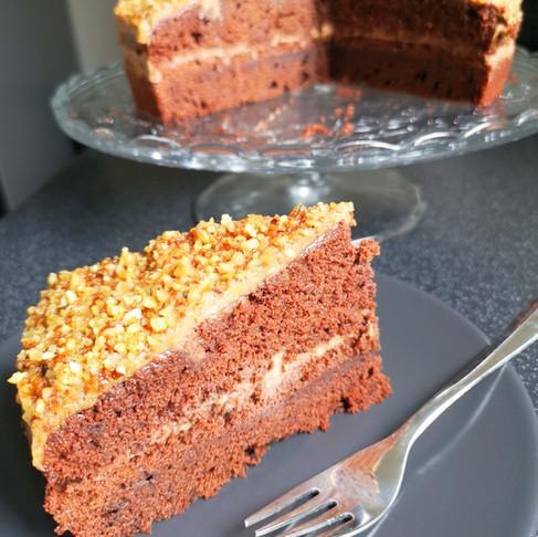 Gâteau moelleux au chocolat vegan crème pralin