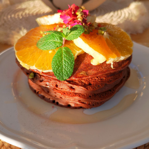 Pancakes vegan d'hiver chocolat orange sans gluten