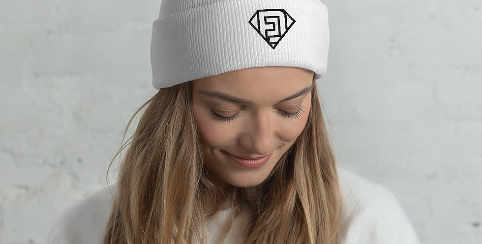 FlowDriver Cuffed Beanie Black Embroidery